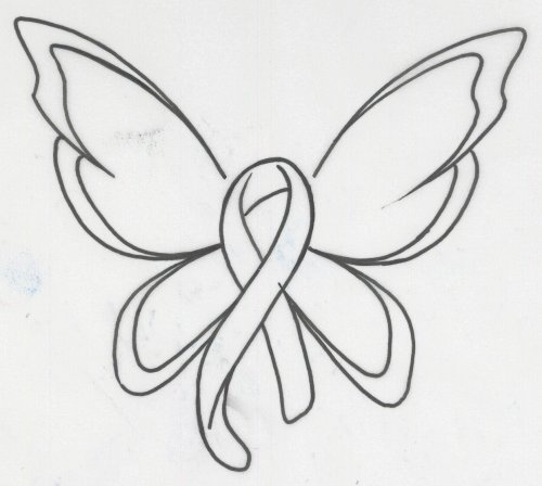 Breast Cancer Ribbon With Butterfly Wings Tattoo Best Design