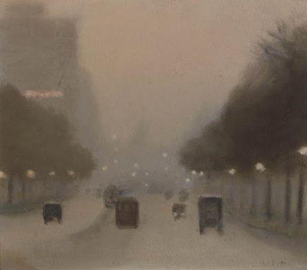 Clarice Beckett - Evening, St Kilda Road, 1930.