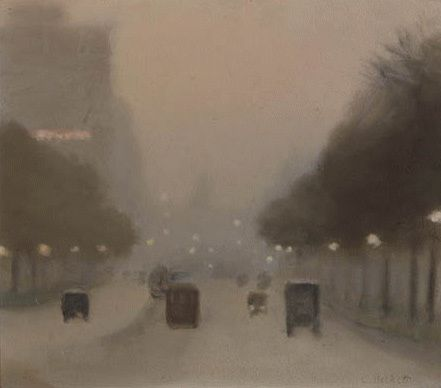 Clarice Beckett - Evening, St Kilda Road, 1930.