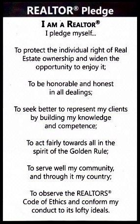 Realtor Pledge.  Eyemark Realty, Inc. does business as a Realtor, a member of the National Association of Realtors.  #Realtor  #EyemarkRealty  #Ethics   www.EyemarkRealty.com