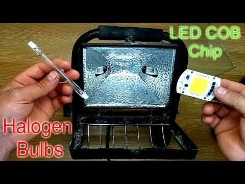 How to Replace / Convert a Halogen Floodlight with an LED Chip - YouTube