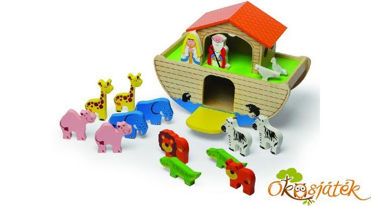 Noé bárkája játék készlet állatokkal, összesen 19