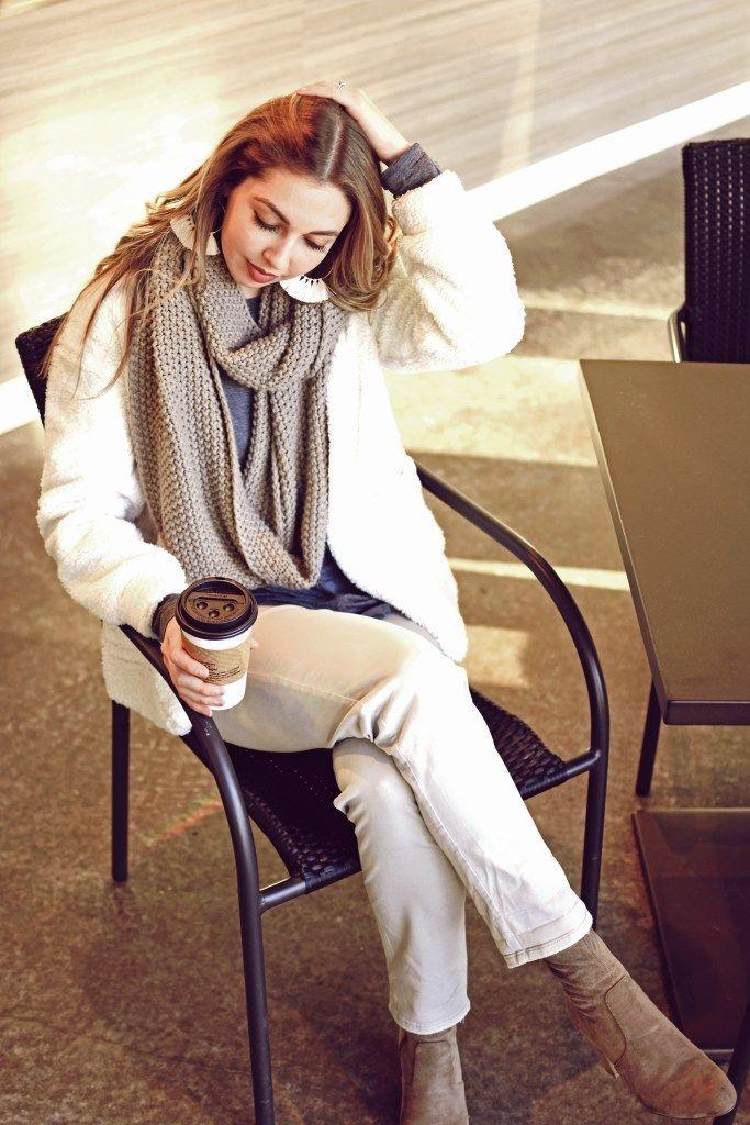 Cozy coffeeshop vibes with a fleece cardigan
