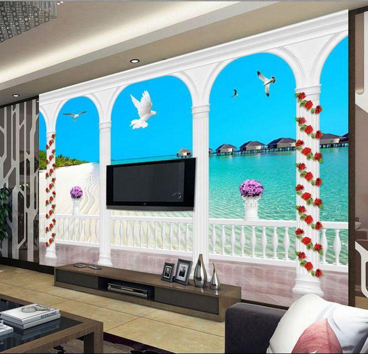 Дешевое Бесплатная доставка современные стены 3D фрески обои, hd роман адрес декорации 3D росписи для тв диван фоне стены papel де parede, Купить Качество Обои непосредственно из китайских фирмах-поставщиках:                                                     Примечание: