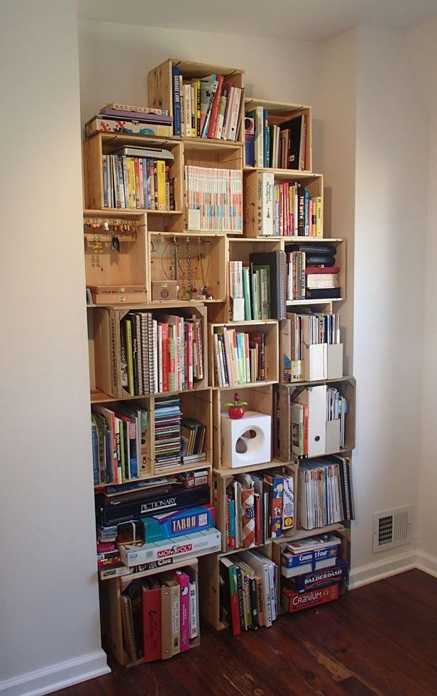 Diy Bookshelf From Wooden Wine Crates Gt Gt Http Blog