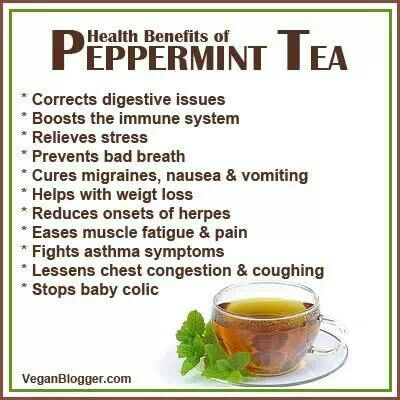 Health benefits of peppermint tea (Good thing I drink this stuff like water)
