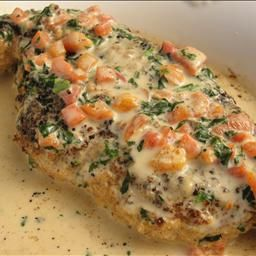 Chicken in basil cream. I've made this twice now and my little family loves it.