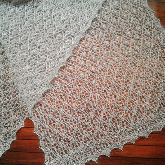 Lace Mohair Scarf in Light Grey Color. Hand Knitted Elegant