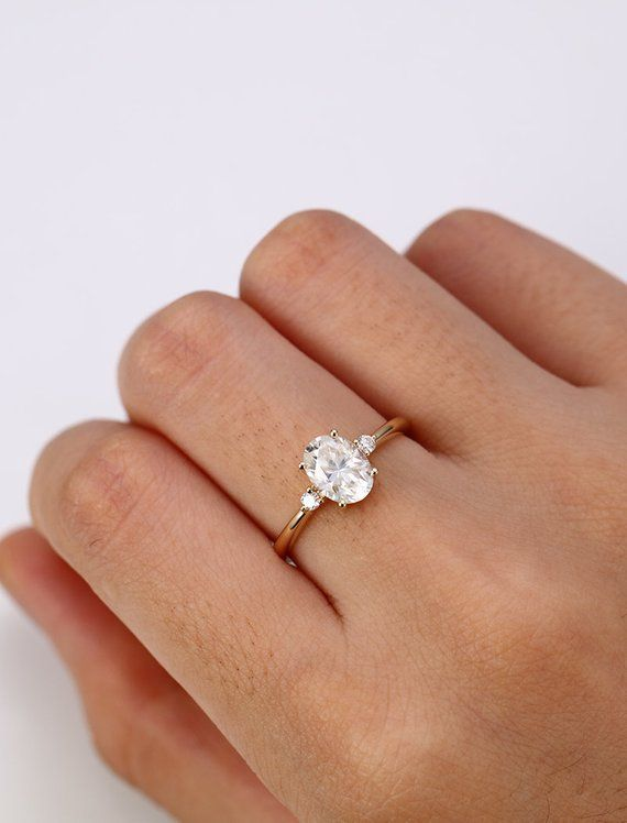 Moissanite Engagement Ring yellow gold Oval cut engagement ring ... dc2694e9027e8