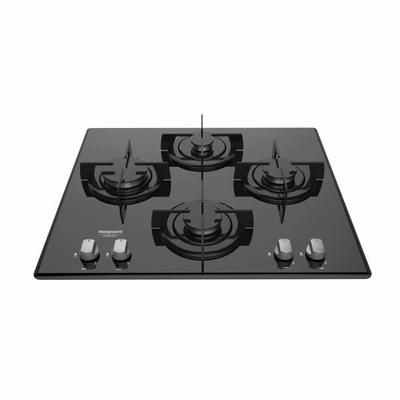 Plaque de cuisson Gaz - 4 foyers - Allumage direct 1 main - Grilles émaillées - Surface en verre
