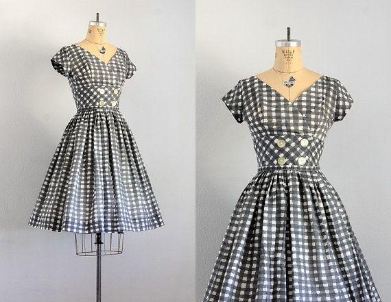 vintage 1950s dress  • 50s check dress  • 1950s day dress • small medium on Etsy, $136.07 AUD