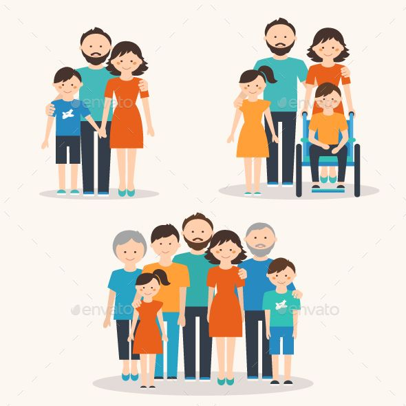 Families of Different Types. Flat Illustration