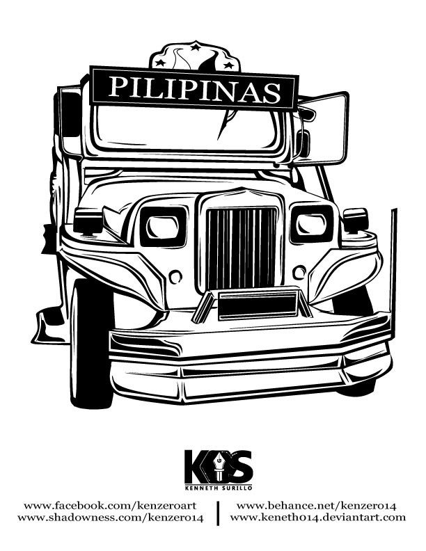jeepney phillippine drawing front view