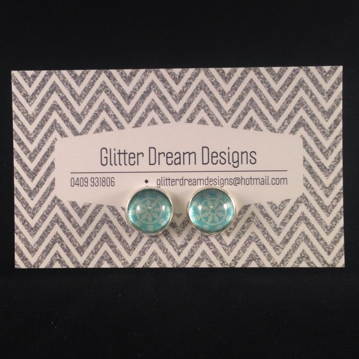 Order Code D18 Green Cabochon Earrings