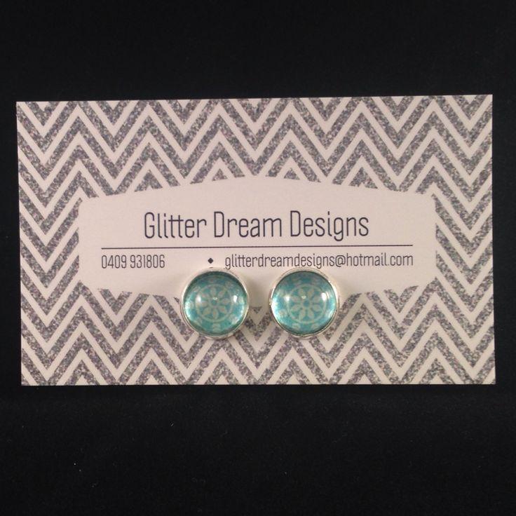Order Code D18 Green Cabochon Earrings