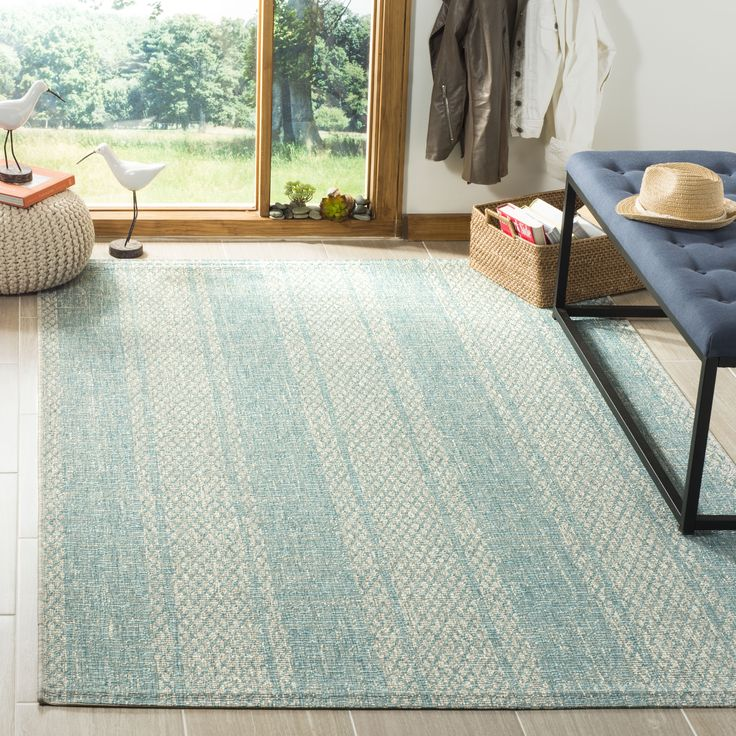 Courtyard Collection 5′-3″ X 7′-7″ Rug in Light Grey And Aqua – Safavieh CY8736-37112-5