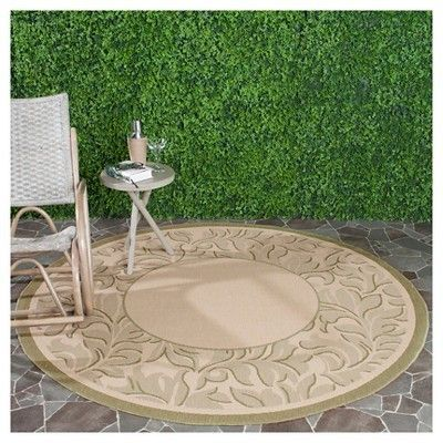 "Ashford Rectangle 6'7""X9'6"" Outdoor Patio Rug - Natural / Olive - Safavieh, Natural/Green"