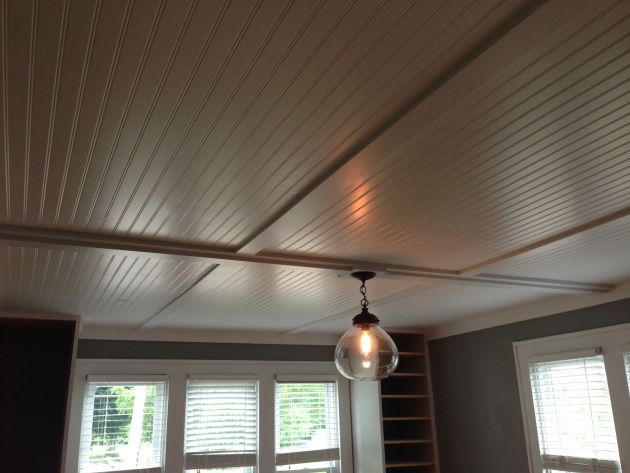 Cover up ugly popcorn ceilings with inexpensive beadboard for Great ceiling ideas