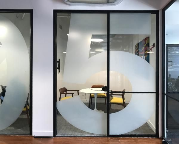 Frosted Window Decals for clothing Company Office in New York City – Job Completed By Signs NY See Our Frosting Window Work http://www.signsny.com/window-and-door-frosted-vinyl #Decals #Window_Frosting #WindowSigns #Signs #NYC #Office_Signs