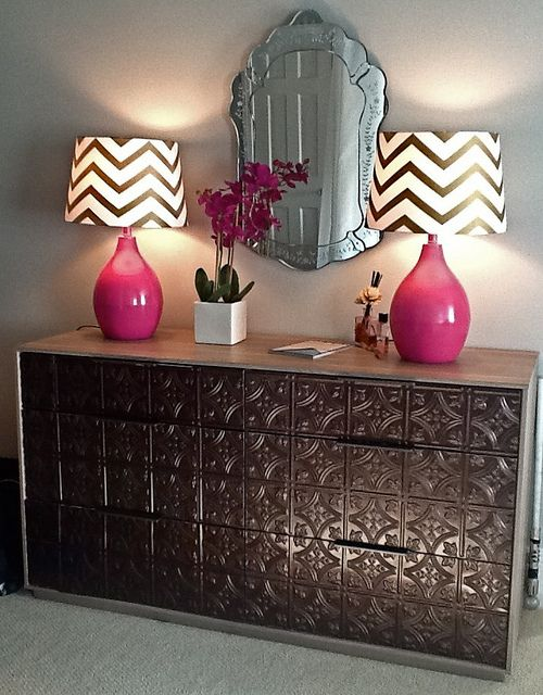 Tin tiles look great anywhere, here they shine on this refurbished dresser. Get creative. Get tin. http://www.udecor.com/