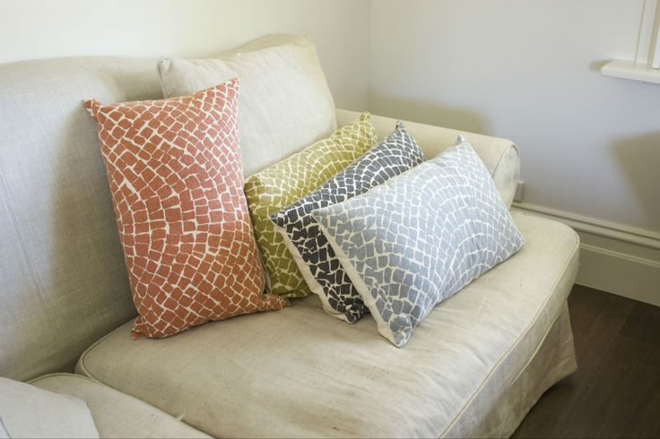 Aztec Cobblestone Cushions - Copper, Mustard, Charcoal and Blue