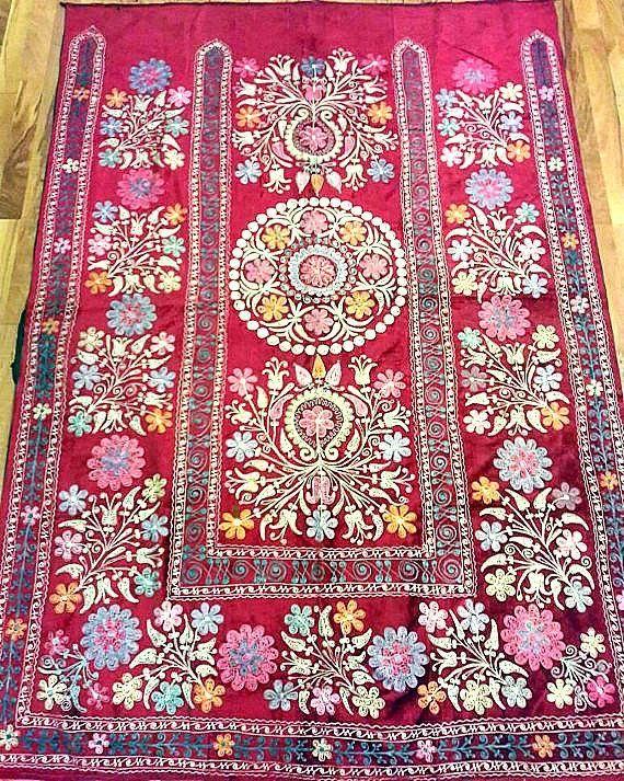 Uzbek vintage silk velvet embroidery suzani.Tablecloth, Wall hanging, Bedspread,Bedcover.
