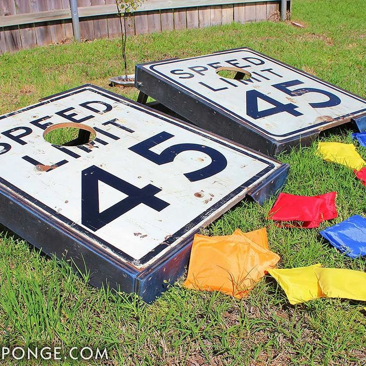 repurposed speed limit signs cornhole game boards