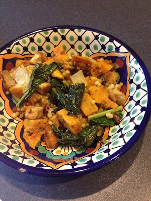 Winter squash-tofu bake with fennel and kale over Israeli couscous or ...