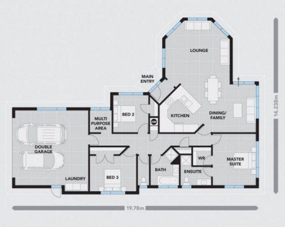 Plano de casa de un piso 005, corresponde a la fachada de casa de un piso con ladrillo cara vista.