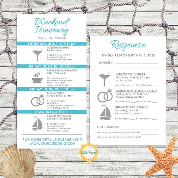 Simple and Modern Wedding Itinerary Card with RSVP by EllePapel  Beach Wedding Itinerary, Destination Wedding Itinerary, Travel Themed Wedding