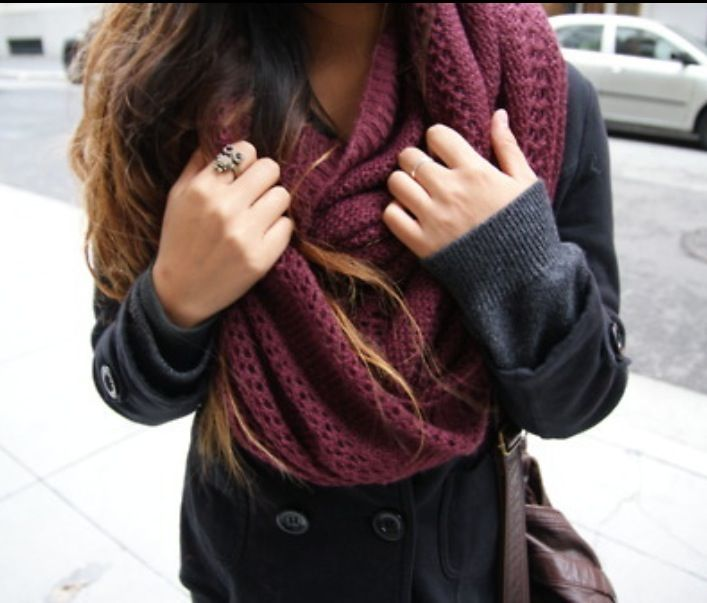 Fall outfit-the color and pattern of the scarf :)