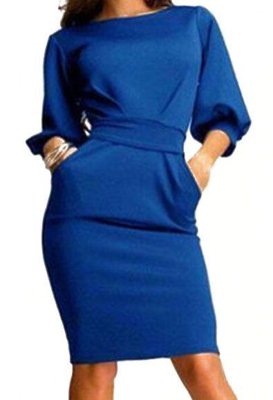 Half Sleeve With Belt Slim Blue Dress