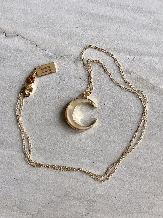 Crescent Moon Necklace Celestial Jewelry 14k Gold Filled Etsy In 2021 Moon Necklace Crescent Moon Necklace Celestial Jewelry