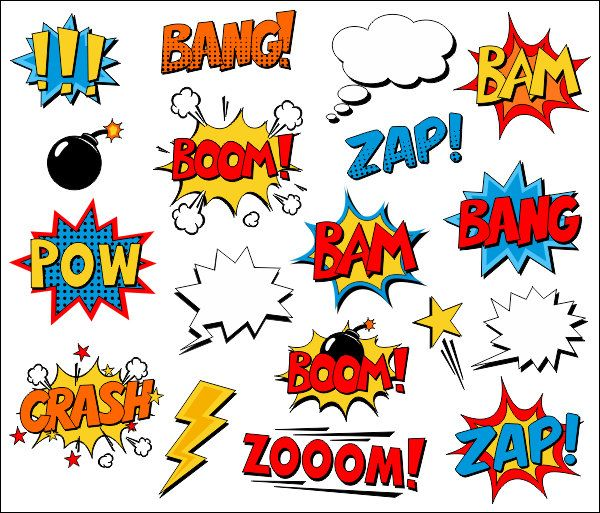 Superhero Clipart Comic Book Clip Art Comic Text Speech Bubbles – Boom, Zap, Bang, Bam, Crash, Pow S