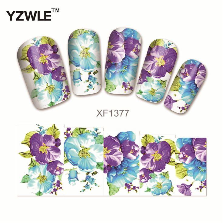 YZWLE Transfert de L'eau Nail Stickers Fleur Pourpre Conceptions Filigrane Nail Art Autocollants Tatouages Décorations Outils Pour Polonais