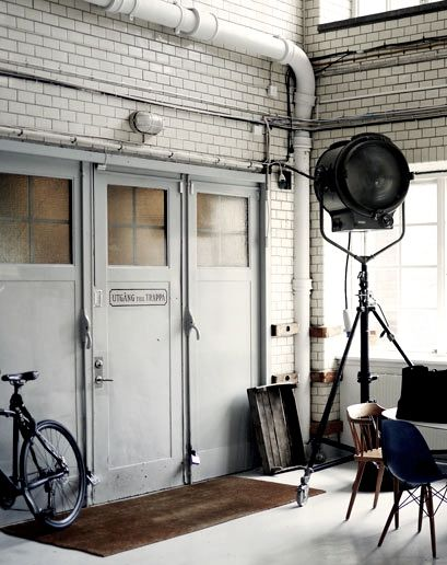 industrial institutional space with tile and a modern reclaimed feel #living #workshop #studio