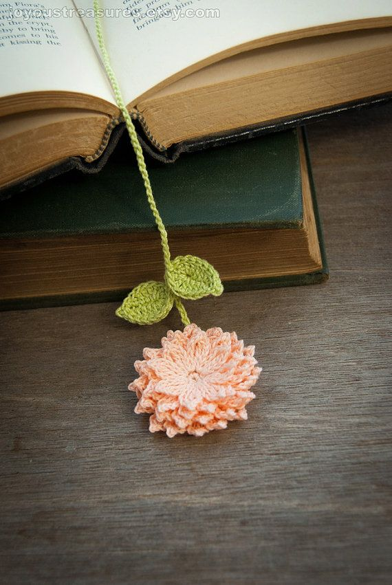 Handmade Crochet Bookmark Peach Dahlia Flower by joyoustreasures
