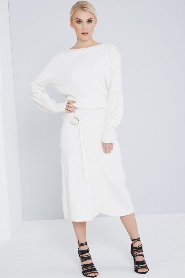 Lavish Alice Off-White Ribbed Knit Asymmetric Split D-Ring Midi Skirt  80%cotton 20% lycra