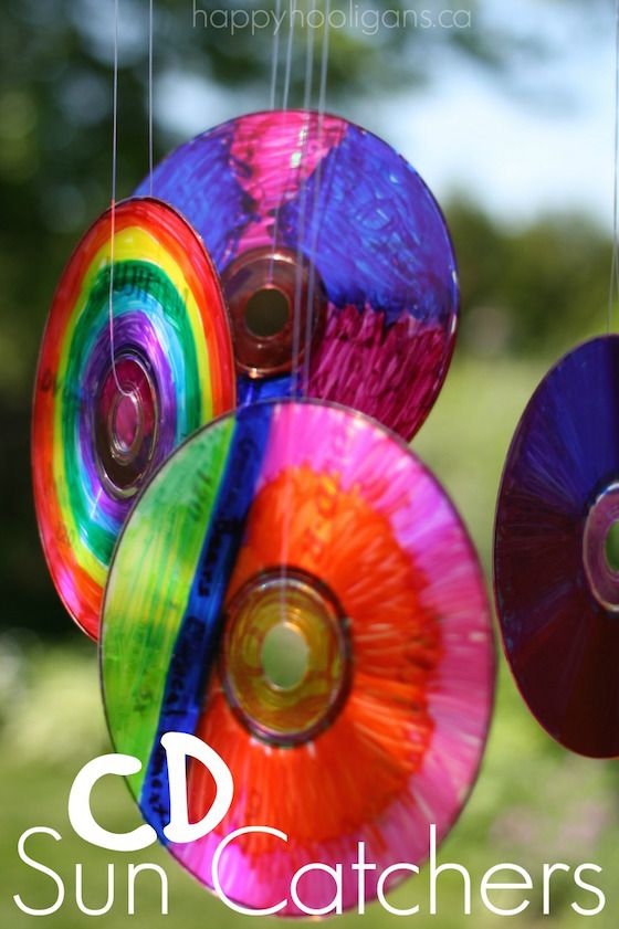 Woohoo!  Check out our latest homemade outdoor ornament! We turned a bunch of old compact disks into vibrant CD Sun Catchers. It was super-easy to do, and the results were gorgeous!  They look amazing with the light bouncing off them. It's a great group project, and all ages, from toddler to teen loved the process. …
