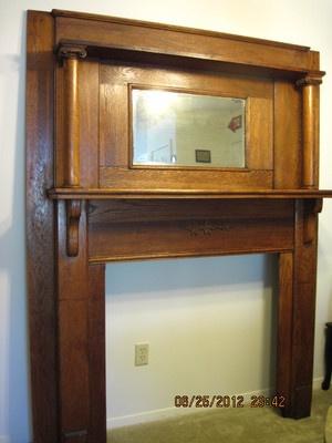 Antique Gorgeous Oak Fireplace Mantel Surround w Beveled Mirror