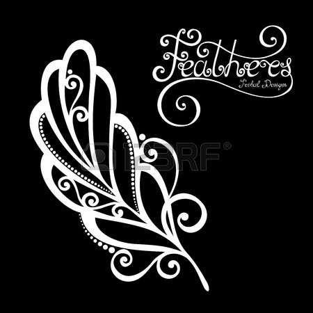 Vector Peerless Decorative Piuma, disegno tribale, tatuaggio photo