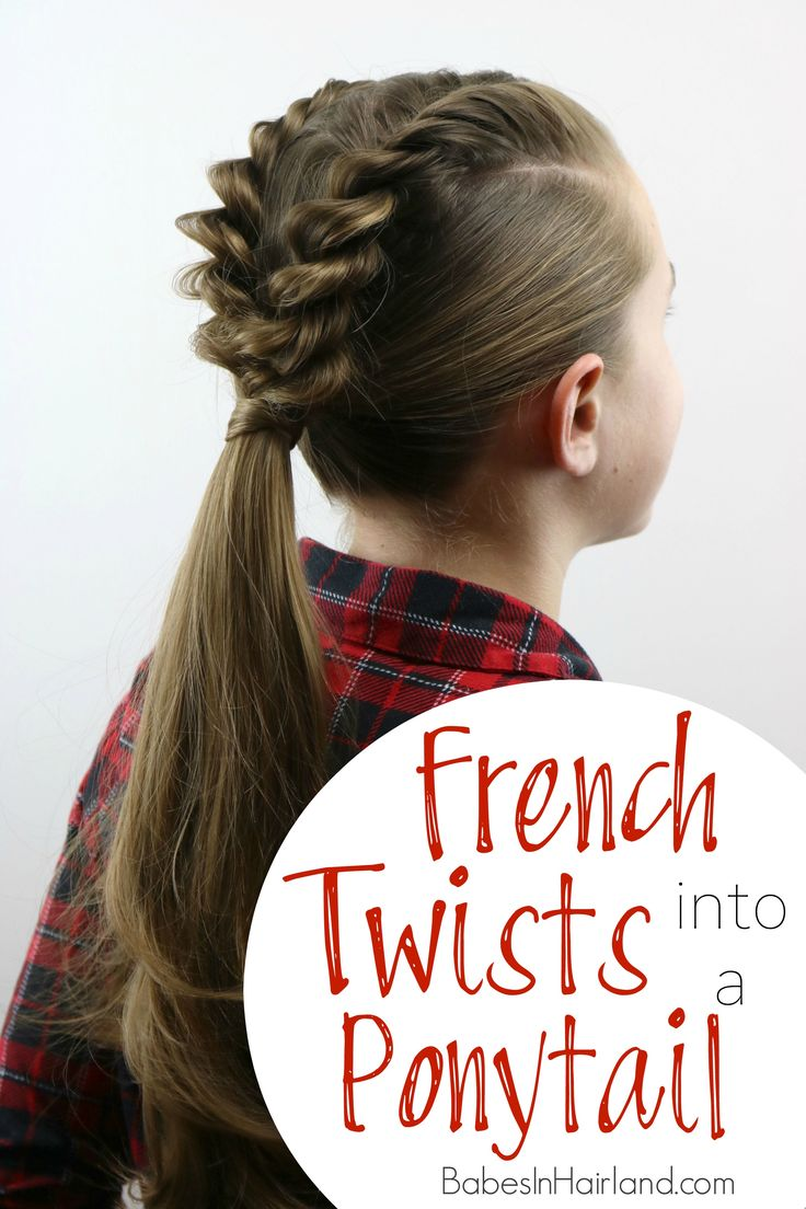 Learn how to create an edgy style in just a few minutes.  French Twists into a Ponytail is a great way to keep your hairstyle looking cool at school or work.