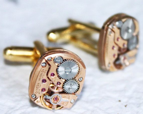 OMEGA Steampunk Cufflinks (Men) - Rare Rose Gold GENUINE OMEGA Luxury Swiss Vintage Watch Movement - 100% Matching - Symbol of Prestige