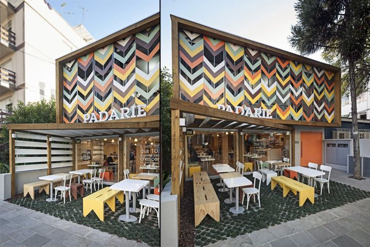 A special mask was applied to the existing facade to provide privacy to the storage room and the office without blocking the sunlight. This solution was accomplished with a set of colored metal brises shaped like the wheat spike, the main ingredient of the bread.