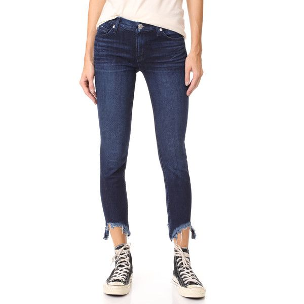 Hudson Colette Skinny Cigarette Jeans ($195) ❤ liked on Polyvore featuring jeans, cuff jeans, hudson jeans, frayed skinny jeans, zipper jeans and white jeans