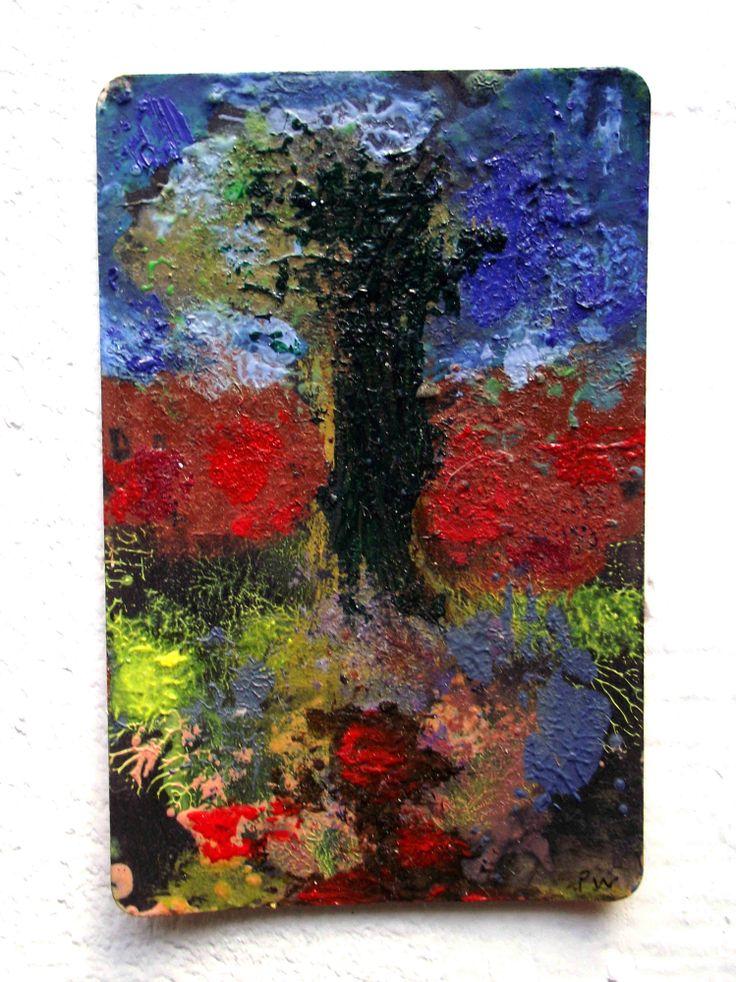 Summer Garden .  oil on train ticket.  Philip Weaver.