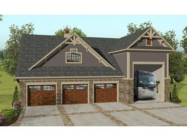 Garage Apartment Plan, 007G-0018 Upstairs & downstairs living... just need to chop off the big honkin' trailer bay!
