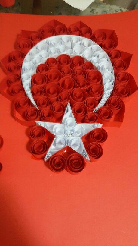 Qulling Türk Bayrağı kağıt katlama