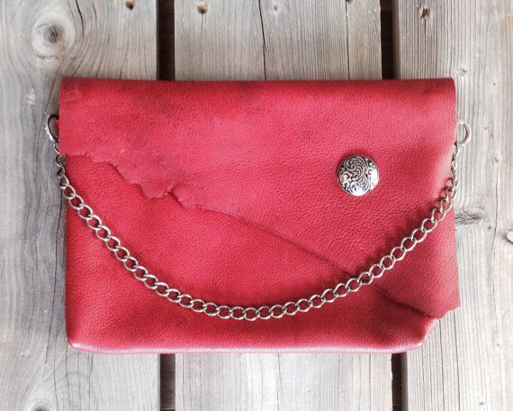 Red Barn Wood Leather Clutch with Raw Edge Flap, Floral Concho detail and Chain Strap on Etsy, $130.00 CAD