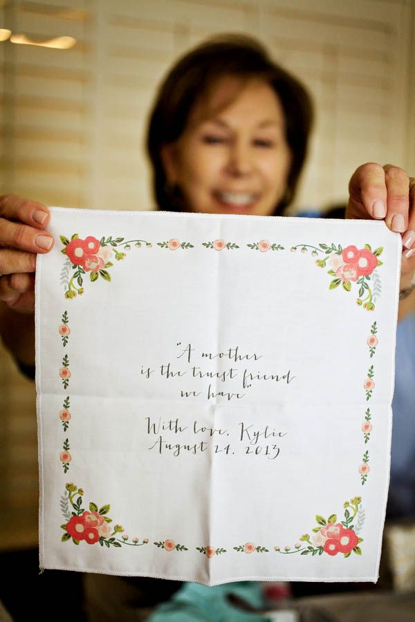 """""""A mother is the truest friend we have"""" - Adorable handkerchief to gift the mother of the bride or groom!"""